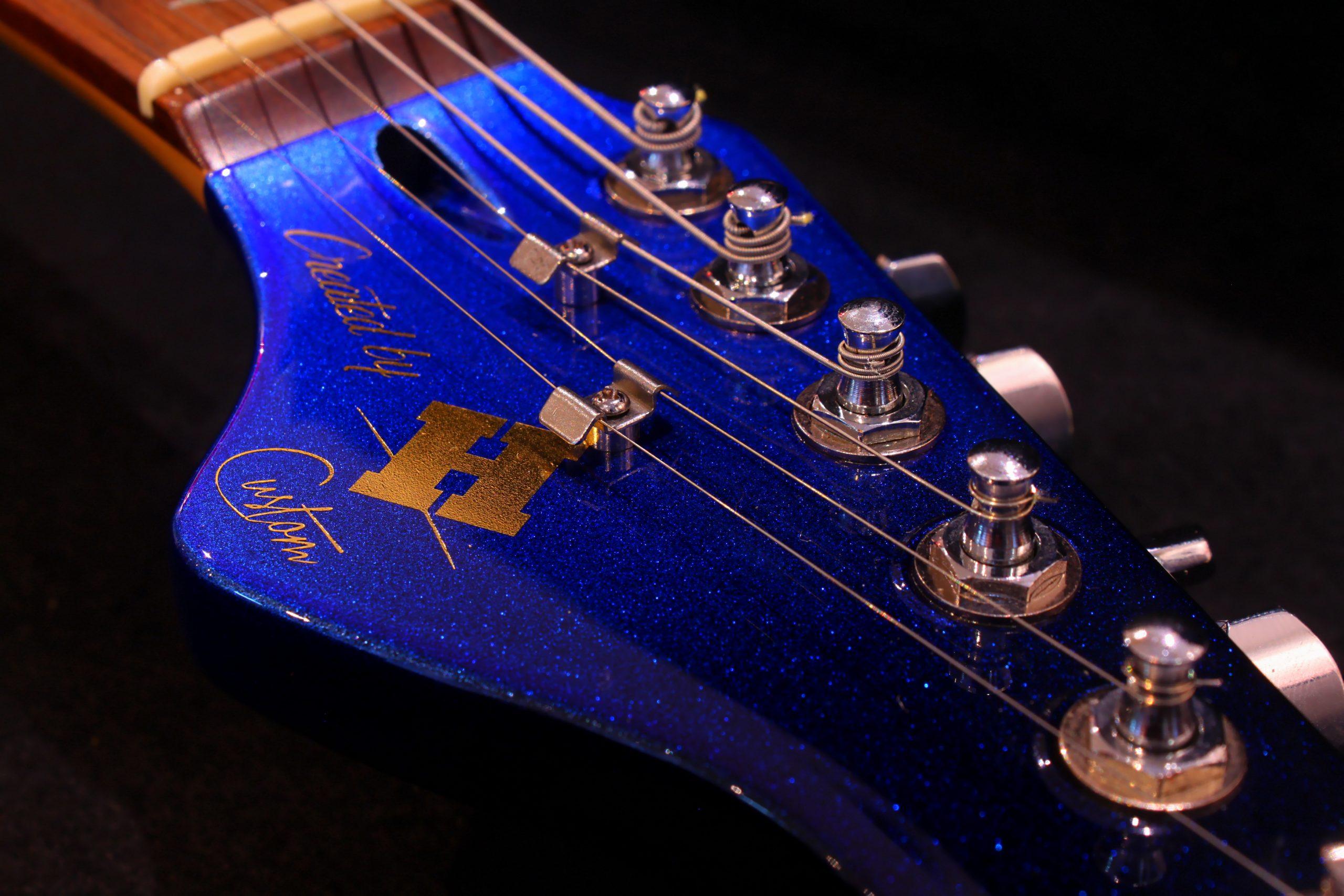 Stratocaster fumée bleu & carbone