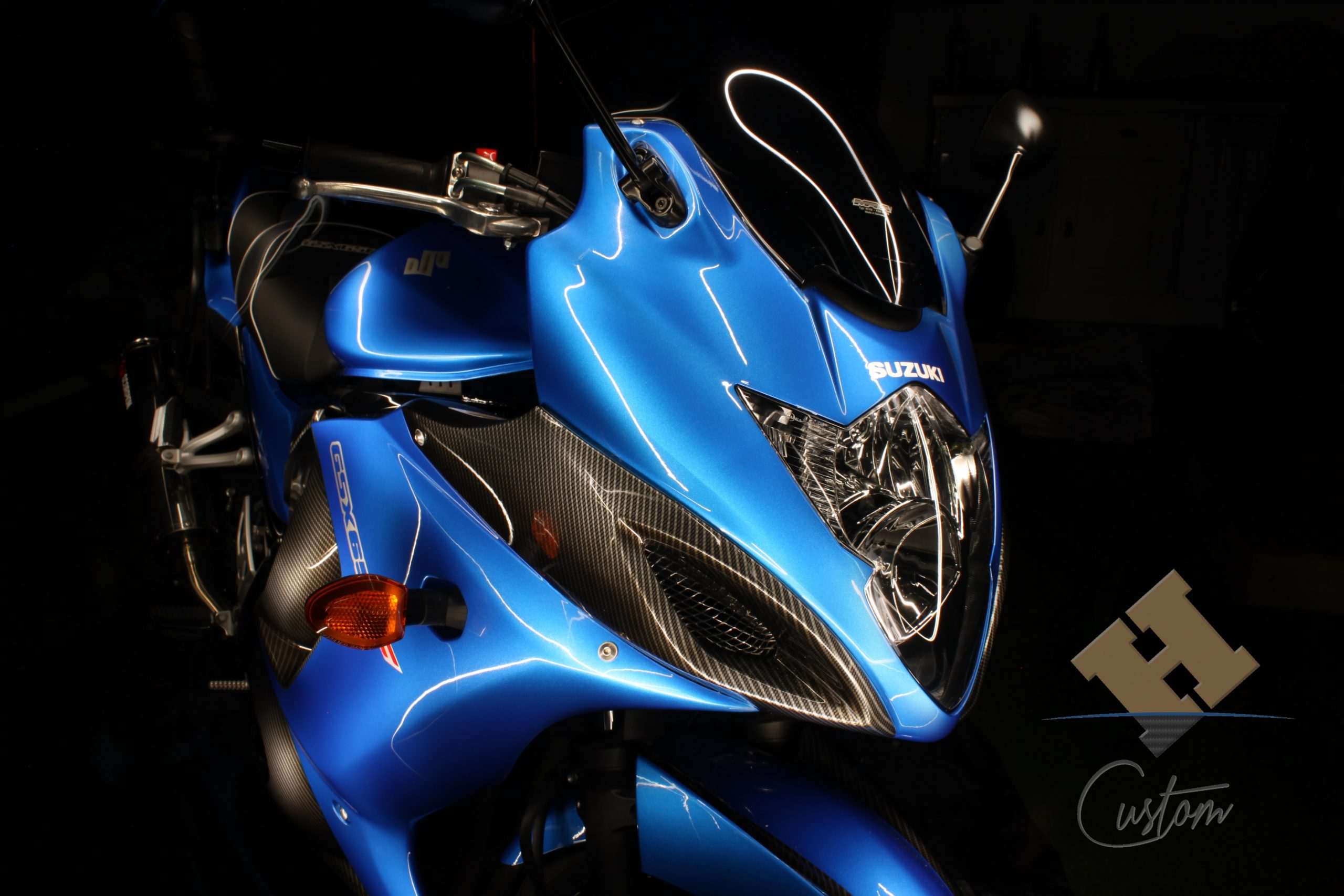 GSX650F bleu & carbone argent